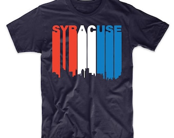 Retro Style Red White And Blue Syracuse New York Skyline T-Shirt