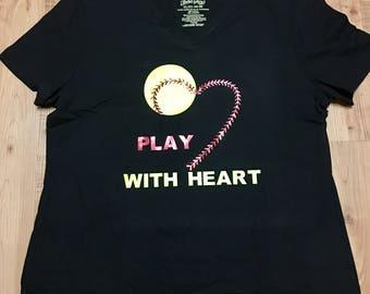 Play With Heart Softball Tee