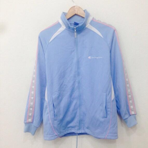 Rare!! Vintage CHAMPION Sweater Full Zipper Light Blue