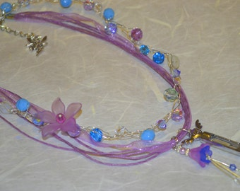 Lavender Perfume Healing Flower Necklace ~ with crystals and bell flower