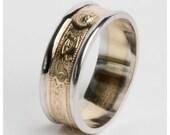 Mens Solid Gold Irish Celtic Warrior Wedding Ring Band 6mm