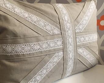 Handmade cushion, shabby chic, Union Jack