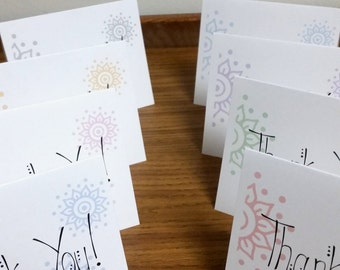 Box Set of 10 Thank You Cards With Faded Designs
