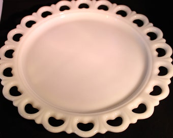 Anchor Hocking Milk Glass Cake Plate