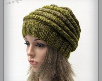 Green knit hat - slouchy womens hand knit hat - adult hat - winter accessories - baggy hat - slouch hat - ribbed hat