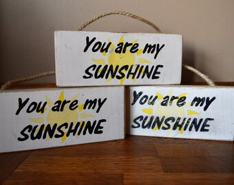 "Handmade Painted Wooden ""You Are My Sunshine"" Sign For Hanging Shabby Chic Style"