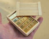 1/6 Scale Miniature Gold Bullion Bars (10 pcs) and Wooden Crate
