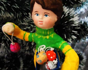 """Cotton toy """"Boy with Christmas balls"""""""