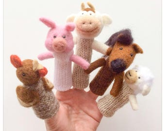 Farm animals finger puppets/puppet-animals wool from the farm, is a hand was and knitting wool