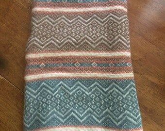 "Vintage Faribo Throw Blanket Pure Wool Made in U.S.A Camp Blanket 48""X51"""