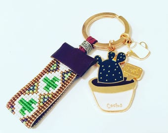 Can't touch this! Cactus Beadwork Keychain