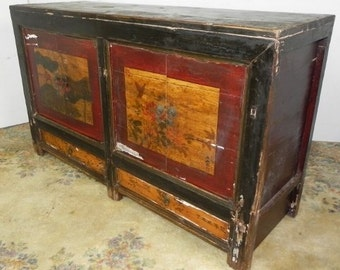 Handpainted  Asian Buffet Cabinet,Traditional Gansu Style Buffet/Sideboard, Asian Furniture, Asian Sideboard, Imported Furniture