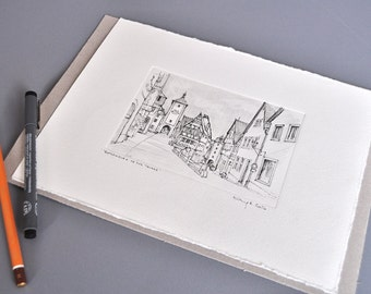 Rothenburg op the Tauber, ink drawing, pencil drawing by Marc M.J.. Wolff Rosary, 20 x 27 cm embossed Center, 10 x 15 cm
