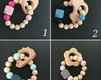 (Wood and silicone) baby teething rattle