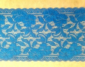 "8.5"" X 22"" width, TEAL LACE, elastic lace, polyester lace, clothing accessories, undergarment, white lace, nightie, Dark teal, craft,"