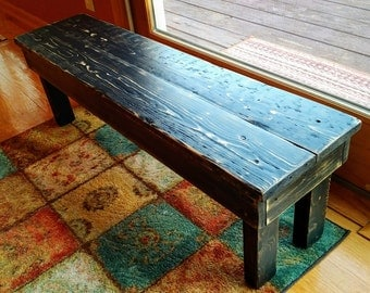 Primitive Wood Bench, Rustic Bench,  Farmhouse Bench