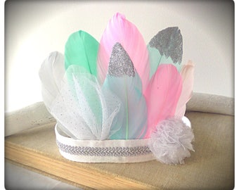 Beautiful Baby Girls Birthday Feather Crown , Feather Headband , 1st Birthday Crown, Party Crown , Baby Crown , Princess Crown