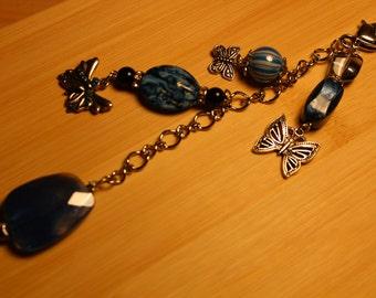 Butterfly Purse Charm /  Dangle/  Key Chain Butterfly / Lobster Claw / Blue Key Chain / Key Chain /  Purse Charm / Glass Beads