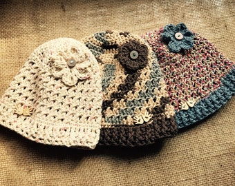 Ponytail Hat & Beanie with Flower - Earth Tones - FREE Shipping