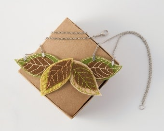 felt necklace, felt leaves necklace, green brown necklace