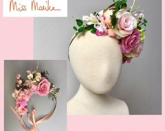 Flower crown - flower headpiece - bridal crown - diadeem - couronne des fleurs - festival - bloemenkrans - ballet pinks - blush - prom