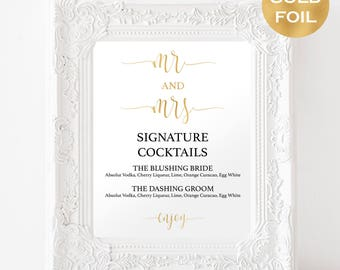 Signature Drink Sign Printable - Wedding Bar Menu Sign - Signature Cocktails - The Bar Sign - Gold Wedding - Downloadable wedding #WDH812105
