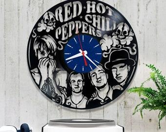 Red Hot Chili Peppers Vinyl Clock/Rock Band Wall Clock 2/3/3/Wall Record Clock/Rock Lover Gift/Wall Vinyl Clock/Music Clock