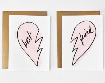 Best Friend Cards // BFF Card // Best Friend Card Set // Best Friend Gift // Friendship Card // Hand Lettered Best Friend Card for Her