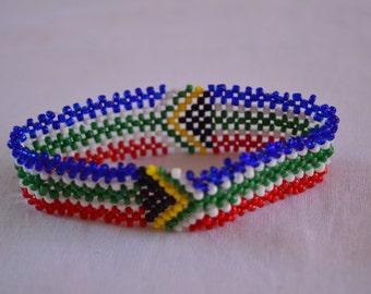 South Africa Flag Bracelet | Maasai beaded bracelets | Flag of South Africa | South African flag wrist band.