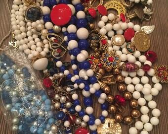 Bulk Lot Vintage Jewelry Crafting Repurposing Red White Blue Americana Beach