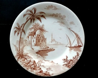 "Plate faience of Gien, ""Views of Orient"" collection, late 19th, RARE & PERFECT CONDITION"