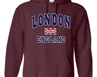 London England Union Jack Pullover Printed Hoodie Casual Jumper Souvenir Top