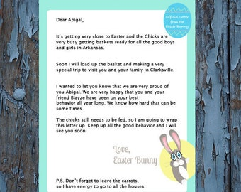 Easter, the Easter bunny, easter baskets, Easter Bunny letter, Letter from Easter bunny, Template, Editable template, easter gift ideas, diy