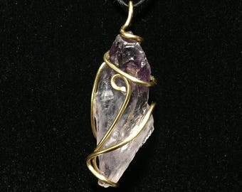 Amethyst Wire-Wrapped Pendant
