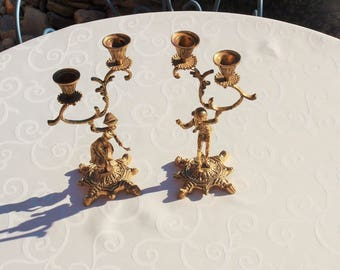 Antique Brass French Candle Holders / Vintage Brass Candle Holders