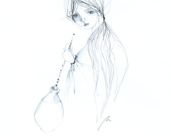 ORIGINAL drawing (Girl With A Vessel), pencil