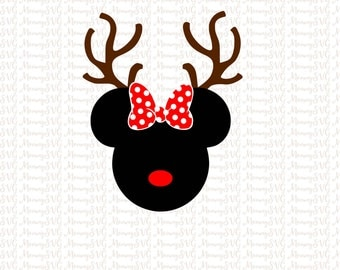 Minnie Mouse Reindeer, Christmas SVG, Cut Files, Cricut, PNG, Silhouette SVG