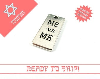 Me VS Me Charm, Me VS Me Tag, Me VS Me Bead, Exercise Pendant, Exercise Charm, Exercise Pendant, Exercise Tag, Silver Exercise Bead