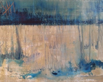 Abstract Original Painting Expressionistic Contemporary Modern Art Landscape Inspired by Nature - Teal Rain II