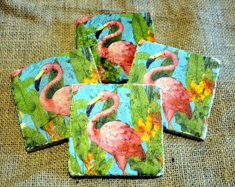 Pink Flamingo Natural Stone Coaster