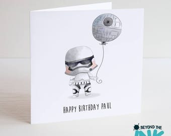 Personalised Star Wars Stormtrooper Birthday Card - 2 Designs