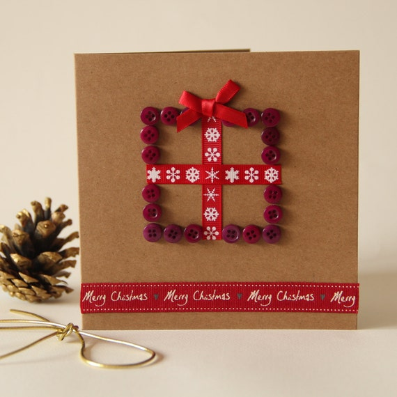 Christmas Present Button Card - Purple