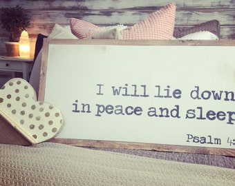 Scripture Psalms 4:8 Wood Sign