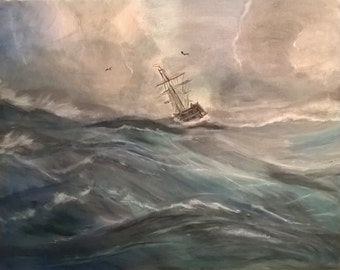 Original Painting, A Storm at Sea