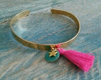 Gold Rush pompon and charm bracelet