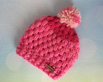Newborn Baby Beanie Hat - Pink Girl