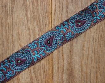 Handmade Jade & Plum Paisley 40mm adjustable guitar style bag strap
