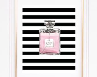Digital Print, Chanel Perfume Wall art, Perfume Wall Art, Printable, Most Popular, Fashion, Striped Wall Art, Black and White Art.