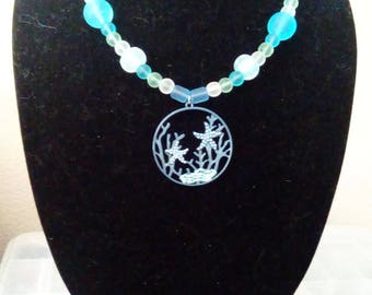 Seaglass Beads with an Underwater Scene Pendant
