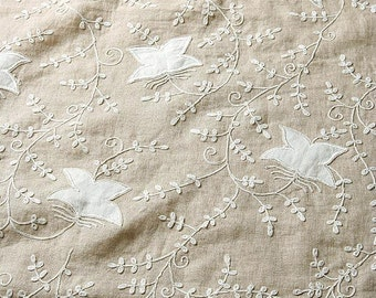 OUT of STOCK at the moment: embroidered LINEN curtain panel / drape, hand made from heavy embroidered linen